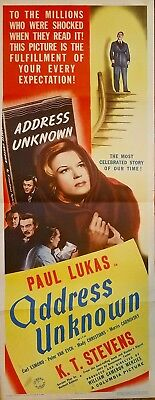 Address Unknown (1944) William Cameron Menzies Wwii Thriller Orig 14X36 Insert!