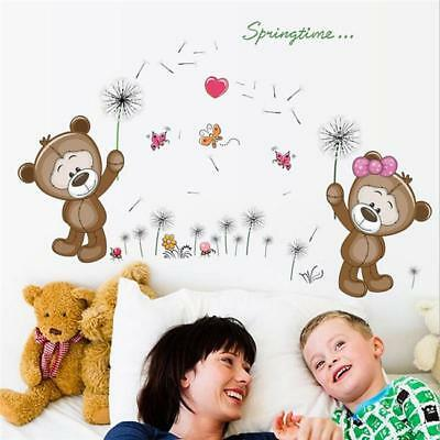 Removable Cute Couple Bear Wall Stickers Art Decal Post Nursery Girl Baby Z