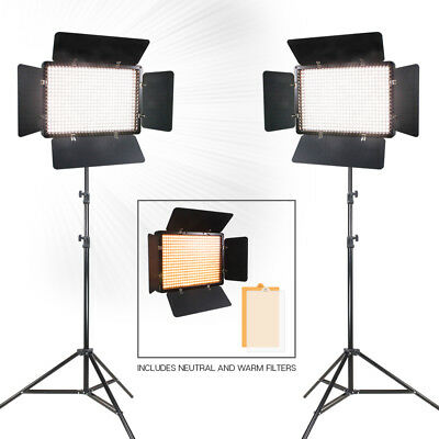 "|2-Sets|504 LED Barn Door Photo Studio Light Panel 86"" Light Stands Lighting Kit"