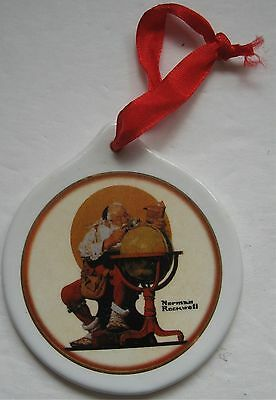 Santa at the Globe Ceramic Christmas Ornament Copyright 1926 Norman Rockwell