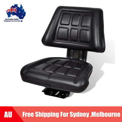 New Black Leather Tractor Seat Backrest Excavator Truck Chair Foam Padded C0P1