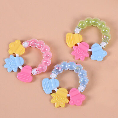 Safety Silicone Baby Teether Teething Ring Bell Infant Chew Toys BPA Free  1pcs