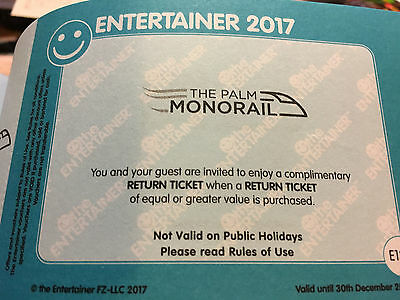 Dubai the Entertainer 2:1 Gutschein2017-The Palm Monorail Ticket-2.Pers.umsonst