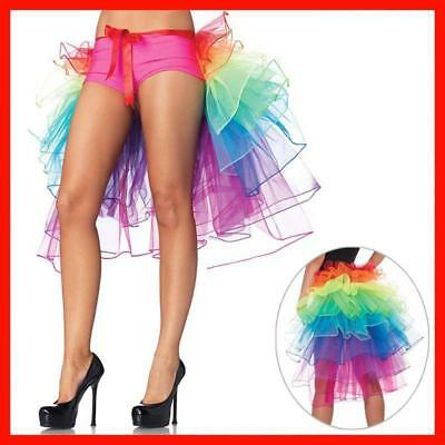 Women Layered Multicolor Rainbow Tutu Tulle Skirts Party Long Tail Bustle Skirt