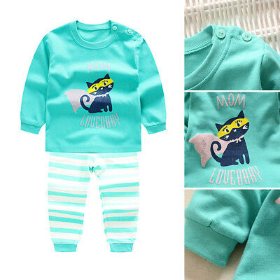 Autumn Winter Baby Boy Girl Cotton Tops + Pants Outfits Sets Warm Underwear Suit