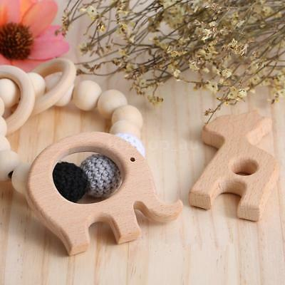 Wood Organic Natural Toddler Chew Toy Wooden Teether Pendant Baby Teething L5I4
