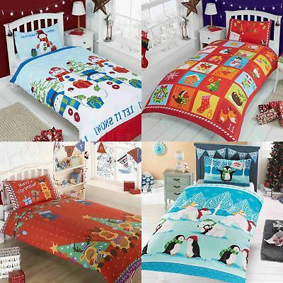 Christmas Duvet Covers Kids Festive Bedding Santa Doona Xmas Quilt Set