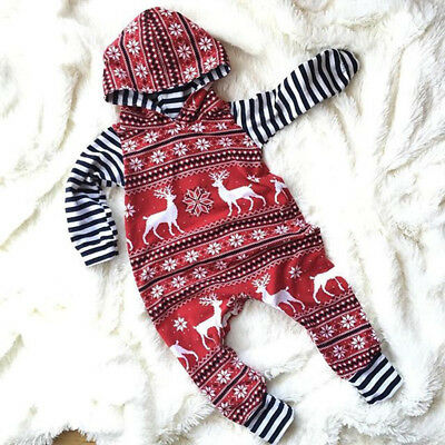 UK Stock Christmas Baby Boy Girl Clothes Hooded Jumpsuit Romper Bodysuit Outfits
