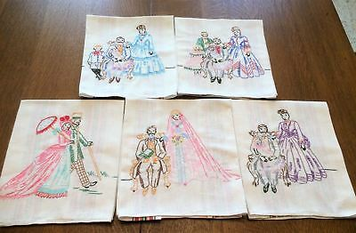 5 Vintage Unique Embroidered Linen Kitchen Towels Man & Woman Dating-To Family