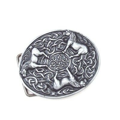 Vintage Silver Alloy Round Celtic Knot Animals Horses Womens Mens Belt Buckle
