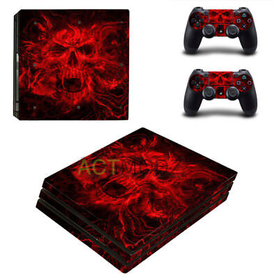 Red Skull Decorated Decal Skin PS4 Pro Game Controller Console and Lightbar Skin