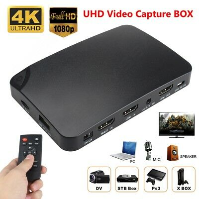 4K Live Stream 1080P HDD Recorder Video Capture Box Hdmi Game PS4 Xbox Blu Ray O