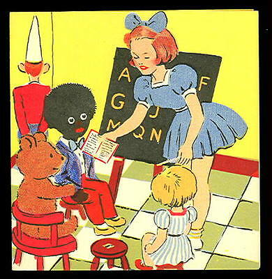 1950s CHILDs Birthday Card- PICKANINNY IN CLASSROOM - Chalkboard - NEW / UNused