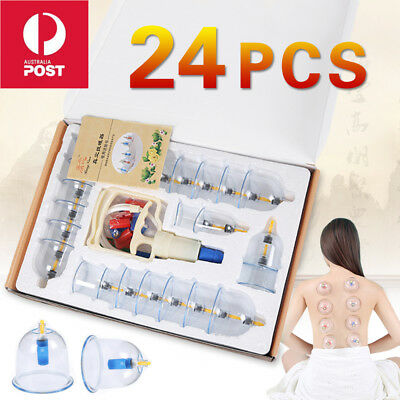 6/12/24 Cups Set Vacuum Cupping Massage Acupuncture Suction Massager Pain Relief