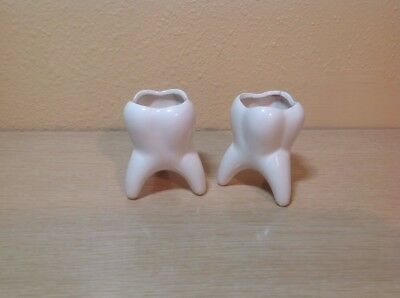 Pair Of White Tooth Shape Candle Holders
