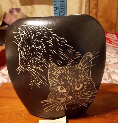 Hand Made Crafted Pottery  Cat Vase 8X7 Inches Very Unique And Nice