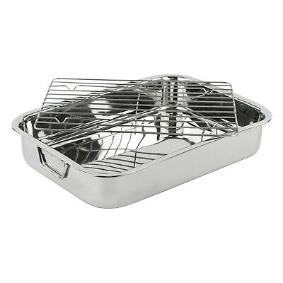 """High Quality 18"""" X 14""""  Stainless Steel Deep Roasting Lasagna Pan With Rack"""