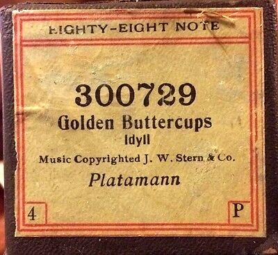 Eighty-Eight Note GOLDEN BUTTERCUPS All Original 300729 Player Piano Roll