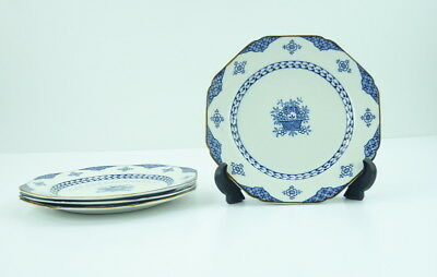 Wood and Sons Blue Bombay Set Of 4 Dessert Pie Plates England Ware Flowers 7 In