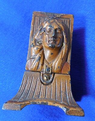 Antique Cold Painted Cast Iron Match Box Holder Collectible Vintage Accessory