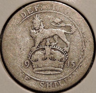 British Silver Shilling - 1915 - King George V - $1 Unlimited Shipping