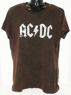 Ac/dc - Rock N Roll Group Junior 1X Or Fit Women Stone Wash Brown Shirt 2016 New