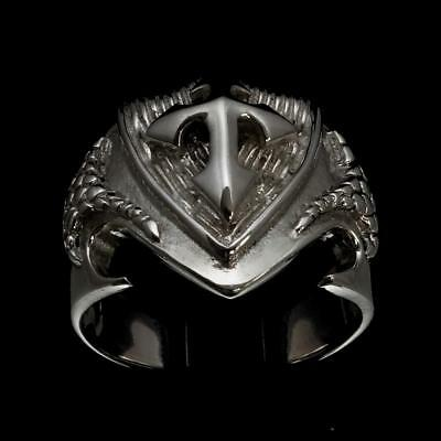 Shining Sterling Silver Mens Ring Cross On Dragon Shield Medieval Knight Any Siz
