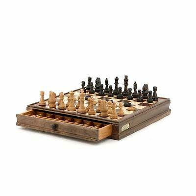Dal Rossi Chess and Checkers Set in Walnut Box
