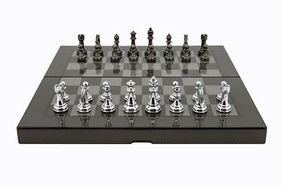 Dal Rossi Carbon Fiber Style Finished - Folding Chess Set 16""