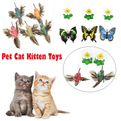 Funny Pet Cat Kitten Dog Toys Electric Rotating Butterfly Bird Rod Teaser Play