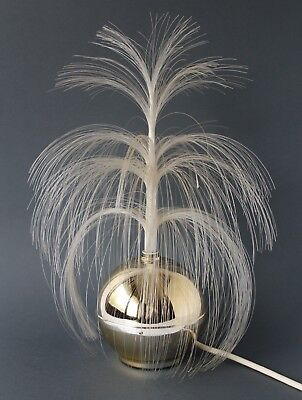 Vintage Retro 60s/70s FIBRE OPTIC Rotating GOLD GLOBE TABLE LAMP Kitsch