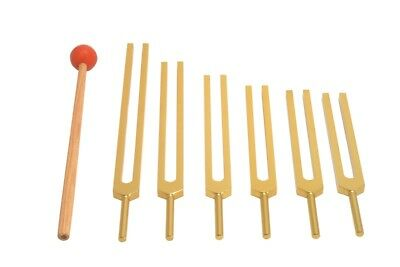 GOLD 6 Pc Sacred Solfeggio Tuning forks incl 528 hz+Mallet healing sound therapy