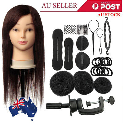 24'' 100% Human Hair Training Practice Head Mannequin Hairdressing + Braid Set