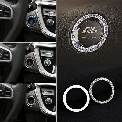Car SUV Bling Decorative Accessories Button Start  Pink Blue Diamond Ring