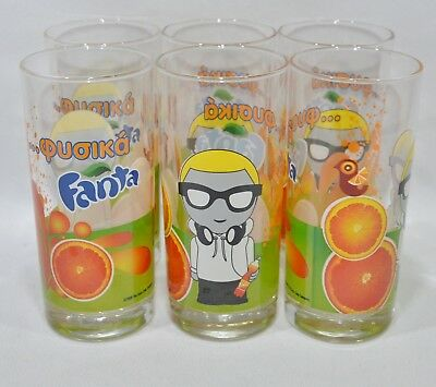 "FANTA 6 Verres tube 28 cl ""mention en grec"" NEUF"