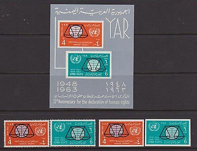 YEMEN 1963 Human Rights perf and imp sets & MS nhm