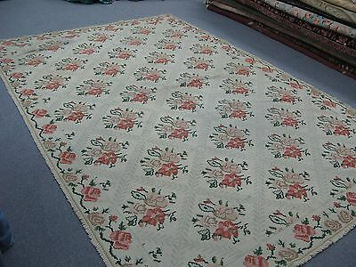 Vintage Hand Woven Portuguese Needlepoint  Rug  6'-6 x 10' Wool - Floral Shabby