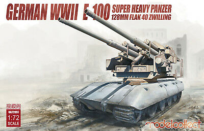 MODELCOLLECT UA72097 128mm Flak 40 Zwilling on E-100 Heavy Tank in 1:72