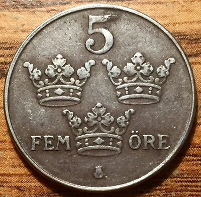 1944 Sweden 5 Ore Crowned Monogram Iron Coin -  Gustaf V Reign