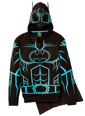 DC Comics Batman Glow in the Dark Boys' Fleece Masked Hoodie Detachable Cape XL