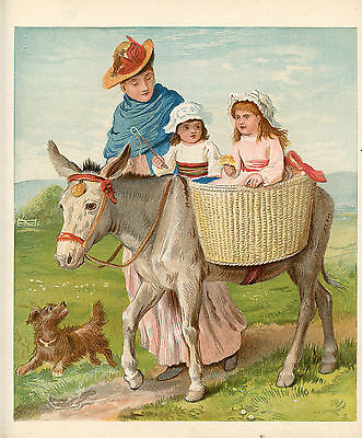 Twin Girls Riding Donkey Horse Terrier Dog Mother Antique Lithograph 1882