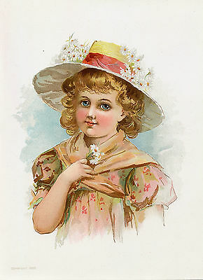 Victorian Girl Daisy Flowers Antique Lithograph Art Print