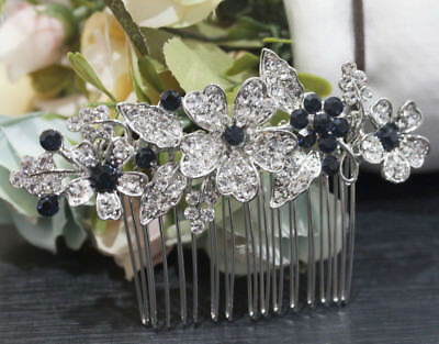 beautiful elegant wedding blue color rhinestone bridal hair comb ha3806