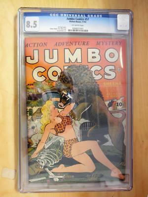 Jumbo Comics  57    CGC 8.5   Off White Pages    Sheena battles Lion Cover