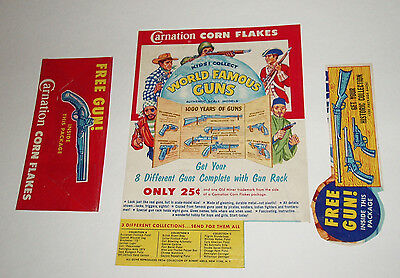 1950's Carnation Cereal Box w/ Famous Guns Premium offer