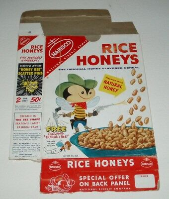 1950's Nabisco Rice Honeys Cereal Box w/ Buffalo Bee