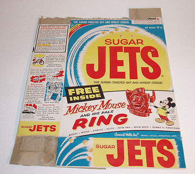 1950's Sugar Jets Cereal Box w/ Mickey Mouse Ring premium offer