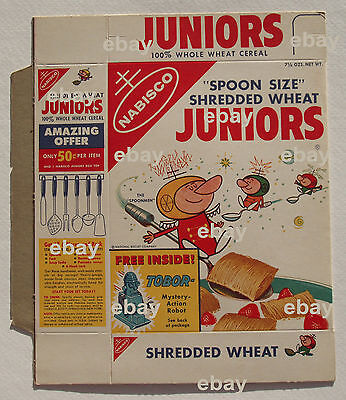 1950's Nabisco TOBOR ROBOT Offer on Spoonman Juniors Cereal Box Shredded Wheat