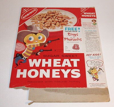 1950's Nabisco Wheat Honeys Cereal Box w Egyptian Ring of the Pharaohs premium