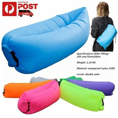 Lazy Lounger Inflatable Air Bed Sofa Lay Sack Hangout Camping Beach Bean Bag New